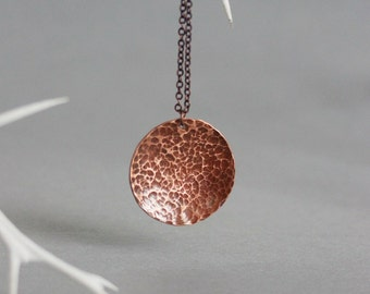 Copper Pendant Necklace, Copper Hammered Pendant, Copper Jewelry, Hammered Necklace, Disc Necklace, Simple Necklace,Minimalistic Jewelry,