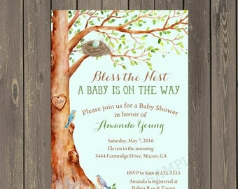 Feather the Nest Baby Shower Invitation, Tree with Birds Baby Shower Invitation, Bless the Nest, Gender Neutral, Printable or Printed