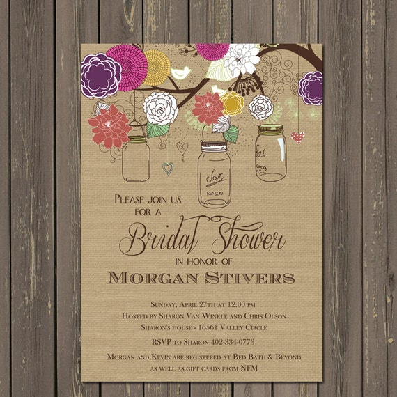 Mason jar bridal shower invitations rustic mason jar invites fall il570xn filmwisefo