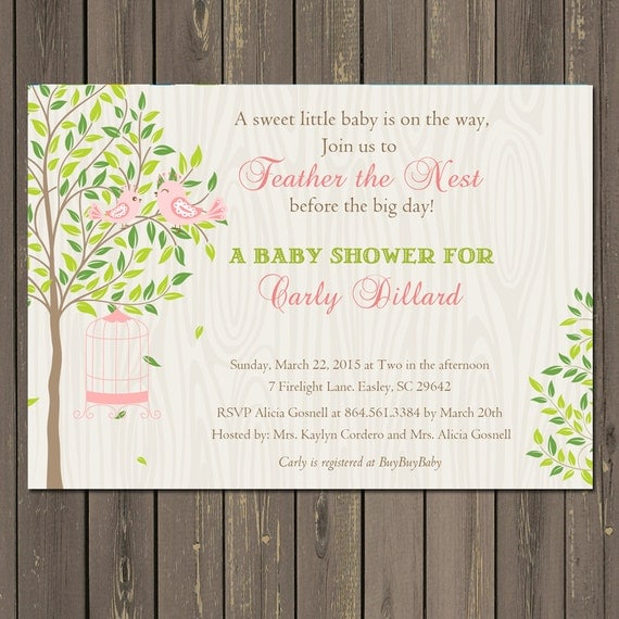 Bird Baby Shower Invitation, Feather the Nest Baby shower Invitation, Bird Cage Shower Invite, Pink or Blue, Printable or Printed