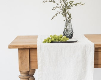 White Stone Washed Linen Runner