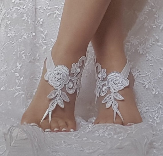 Unique Barefoot sandals,  nude shoes, foot decoration, yoga clothes, beach wedding barefoot sandals, bridesmaid gift, free ship, handmade,