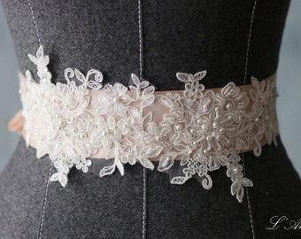 Beaded blush Wedding Sash Bridal Belt Accented with Shiny French Lace and Dazzling Beads