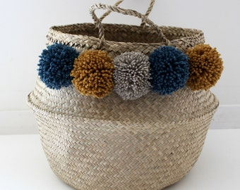 Large Thai basket with PomPoms peacock blue, mustard and beige string