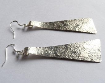 Long earrings silver hammered