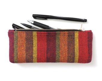 Stripe Pencil Case Pouch Short Pencil Case Wool