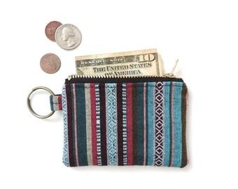 Keychain Coin Purse Wallet Zipper Pouch Stripe