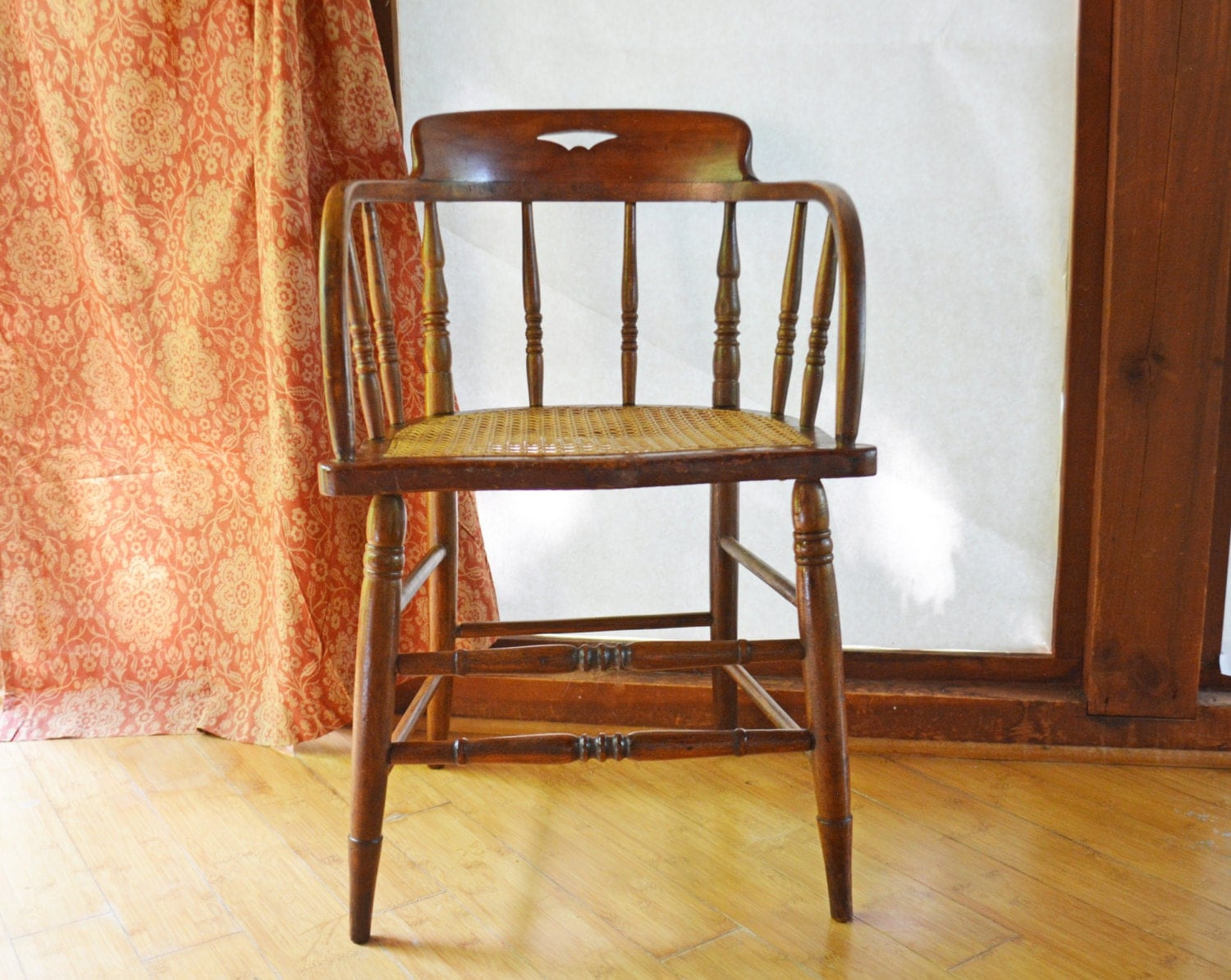 Antique barrel chair - Antique Wood Chair Barrel Back Wooden Chair Small Captains Chair Spindle Back Chair