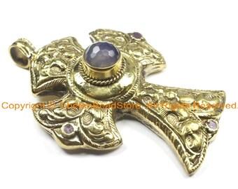OOAK LARGE Tibetan Brass Cross Pendant with Faceted Quartz Accent, Repousse Floral Details - LARGE Cross Pendant TibetanBeadStore - WM6382