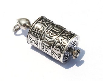 92.5 STERLING SILVER Tibetan Prayer Wheel Pendant with Om Mani Mantra, 8 Auspicious Symbols & Mantra Scroll - Tibetan Prayer Wheel - SS2180