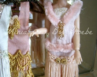 Dollhouse Miniature Wearable Silk Fringed Flapper Gatsby Girl Gown with accessories 1:12th scale