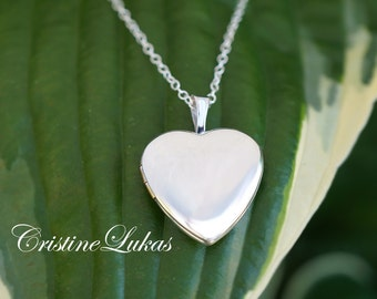 Engravable Heart Locket Necklace - Photo Locket - Engrave Your Monogram, Data eor Name in Sterling Silver, Yellow or Rose Gold Overlay