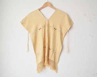 vintage fringe embroidery boho indian poncho shirt top 60s 70s // S-M