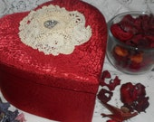 Satin Keepsake Box, Red Satin Heart, Complimentary Gift of Potpourri, Vintage Crochet Lace, Valentine Gift for Her