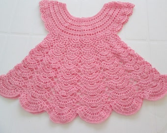 Sale 20% Baby Crochet Cotton Dress. Pink Baby dress. Size 12-18 months. Summer Baby Cotton Dress. Ready to Ship.