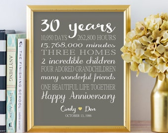 30th Anniversary Gifts Personalized Gift 30 Years Wedding For Parents Days Hours Minutes Print