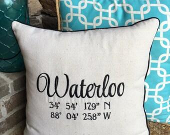 Map Coordinates Pillow Cover, Longitude Latitude Pillow Cover, City State Pillow, GPS Pillow, Wedding Pillow, Destination Pillow