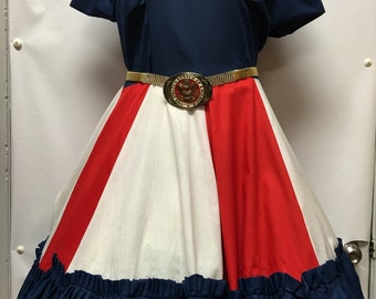 Vintage Helen Red/White/Blue Square Dance Dress