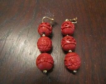 Cinnabar 3 Drop Chinese Earrings