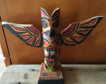Vintage Pacific NW Kwakiutl Stanley Williams Eagle Bear Frog Totem pole