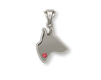 Bull Terrier Pendant With Birthstone Handmade Sterling Silver Dog Jewelry BU1-SP