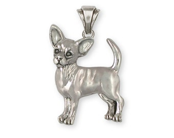 Chihuahua Pendant Jewelry Sterling Silver Chihuahua Charms And Jewelry CU17-P