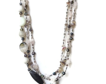 Triple strand statement necklace Gray white silver Semiprecious stone jewelry Layered necklace Asymmetrical jewelry Long gemstone necklace