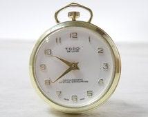 Rare Vintage Todd De Luxe Lifetime Mainspring Mechanical Windup Swiss Made Cameo Pocket Watch