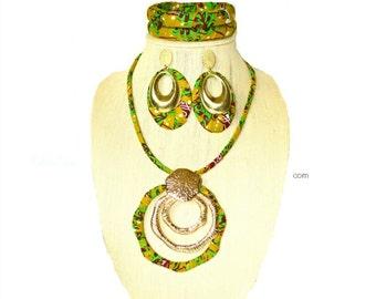 African Jewelry Set, African Jewelry, Green Fabric Jewelry