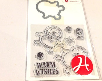 Hampton Art PENGUIN Christmas Winter Stamp & Die set cc22