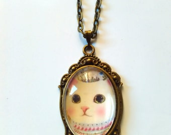cat princess neko bronze necklace