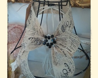 OOAK French Chic Burlap Ribbon Lampshade...Vintage inspired Brooch...chippy black...Sooo Shabby Chic...Chandelier Shade...added Bling