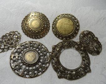 """Vintage gold plate brass filigrees,1&1/4"""" avg.,6pcs-FLG69"""