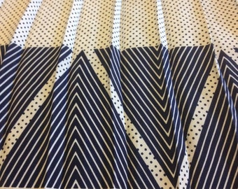 Blue and white polka-dot retro 1980s skirt