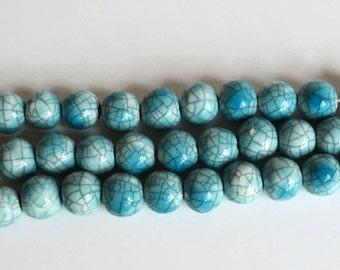Raku  Beads, Turquoise Raku Beads,  African Beads, handmade ceramic beads, clay beads, aquamarine beads