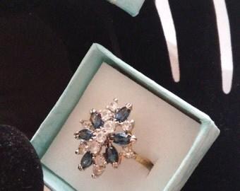 Beautiful Ring with Blue Crystal/Rhinestone