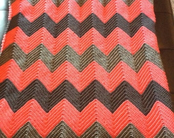 Grey and Coral Chevron Crochet Blanket