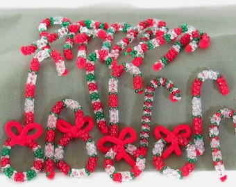 Beaded Candy Cane's and Wreath's
