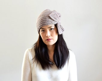 Wool Alpaca Cloche Hat with Bow, Alpaca Knit Hat, Winter Hat, Women's Knit Hat