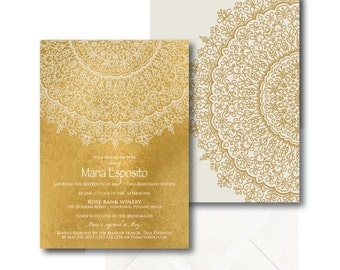 Bridal Shower Invitation - Bohemian - Moroccan - Shabby Chic