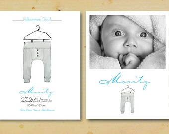 Custom Baby Announcement Design Cards Printable Illustrated Name Art Typography