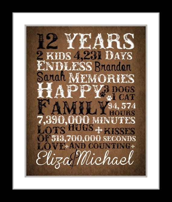 12 Year Wedding Anniversary Gifts Traditional : 12 year anniversary present, anniversary gift, countdown, paper ...
