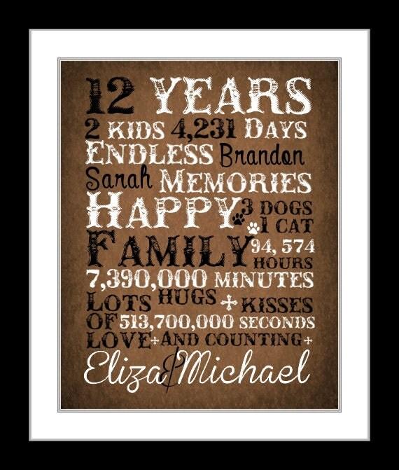 12 Year Wedding Anniversary Gifts: 12 Year Anniversary Present Anniversary Gift Countdown