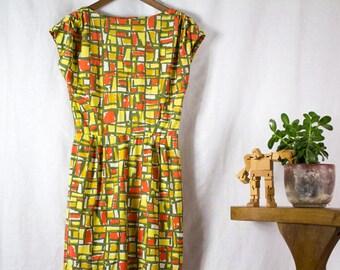 60s poly geometric print knee length wiggle dress