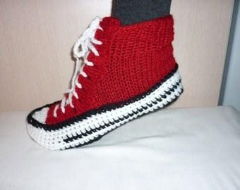 SALE SALE SALE Men Converse Slippers, Crochet Converse Slippers, Crochet Converse, Knitted Converse, Crochet Sneakers, Knitted Slippers
