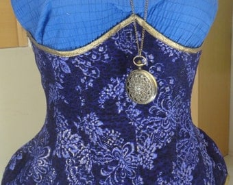 MADE-TO-ORDER Lilac Brocade Spotted Steampunk Hourglass Underbust