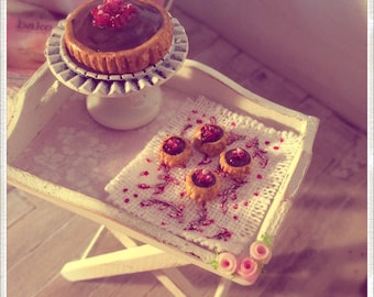 chocolate and raspberry tart and 1:12 scale individual tartlets