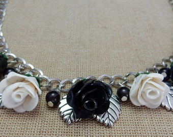 Rose necklace black & white  Handmade, Boho. Gift for girlfriend, gift for her, gift for women, gift for sister,