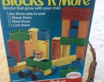 Vintage 1982 Fisher Price Blocks 'n' More #193 Nesting Stacking Linking Complete - Children Toys / Plastic Building Blocks - NEW!
