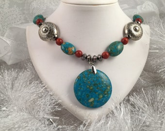Necklace; Mosaic Turquoise  beads, Red River beads with silver accents